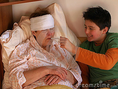 Boy and sick old lady
