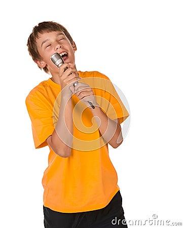 Boy singing karaoke