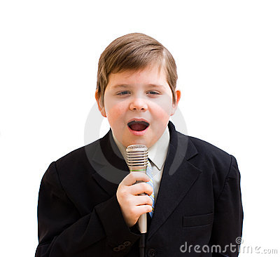 Boy singing in a karaoke