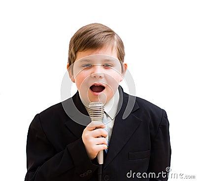 Boy singing in a karaoke
