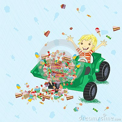 Boy siting in tractor with candies.