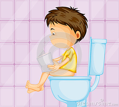 A boy sitting on commode Vector Illustration