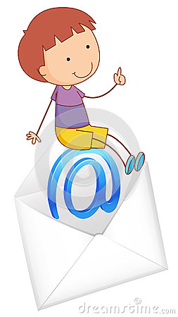 A boy sitting on mail envelop