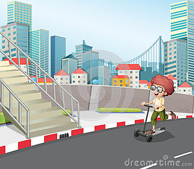 A boy skateboarding at the street