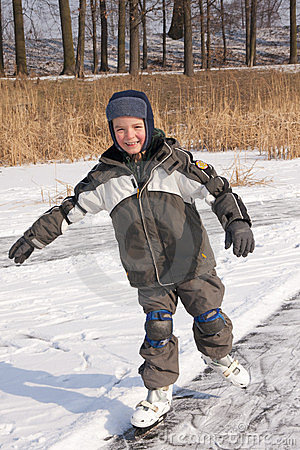 Boy skating in motion
