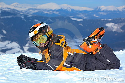 Boy with ski clothes in Alps