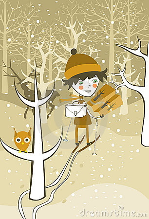 Boy skiing in the forest in vector