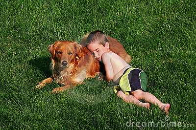 Boy Sleeping on Dog