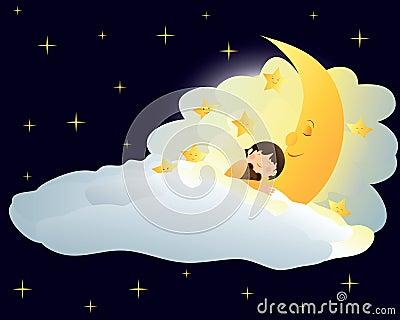 Boy sleeping on the moon