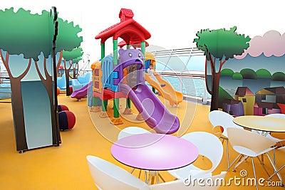 Boy slide on children s playground