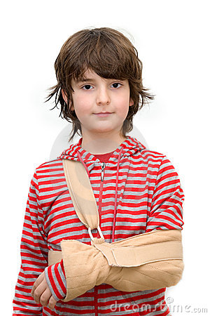 Boy with sling on broken arm