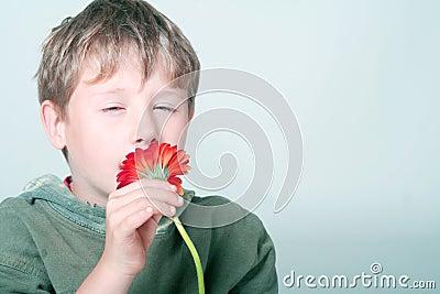Boy smelling flower