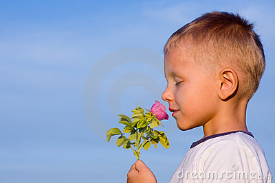 Boy smelling rose flower