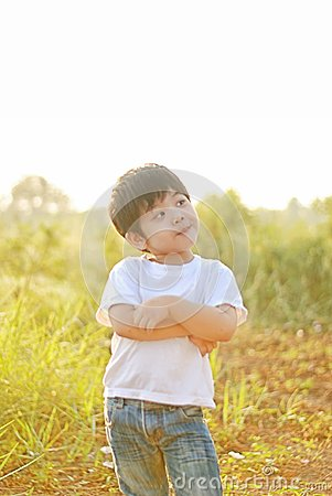 Free Boy Smile Happy In The Morning, There Is A Backyard. Royalty Free Stock Image - 102834686