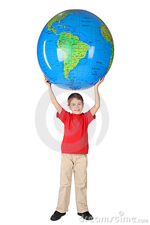 Free Boy Smiling And Holding Big Globe Over Head Royalty Free Stock Image - 14950626