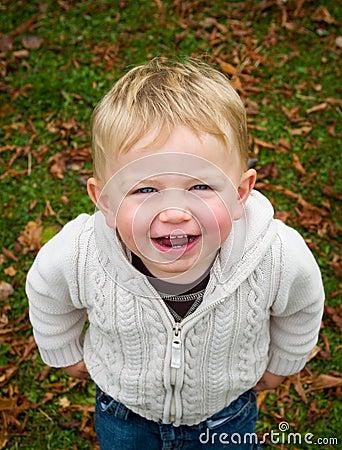 Boy smiling in Autumn