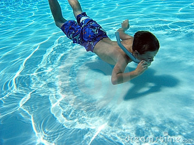 Boy Snorkling Underwater