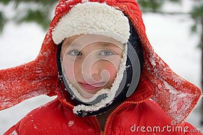 Boy in a snow day