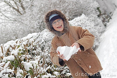 Boy With Snowball