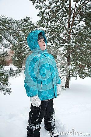 Boy  the snowy winter park
