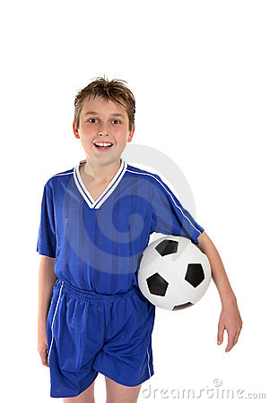 Boy in soccer uniform