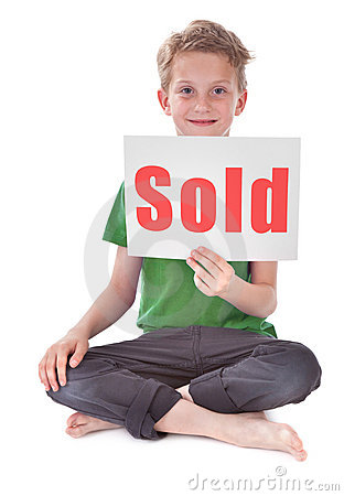 Boy with sold inscription