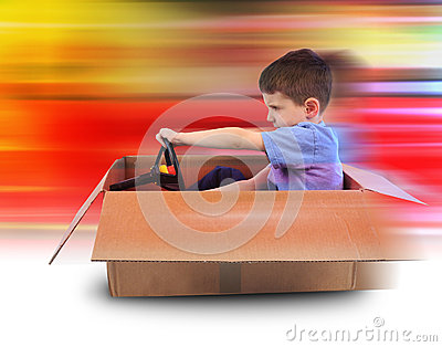 Boy Speed Driving in Box Car