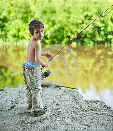 Boy with spinning rod