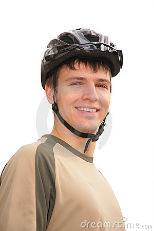Boy in sports helmet