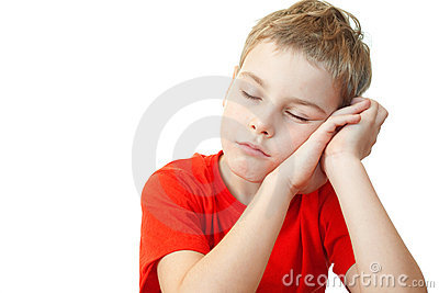 Boy in sports shirt sleep on his hands