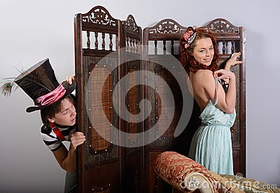 Boy spying for the girl