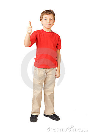 Boy standing on white thumbsup gesture