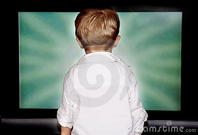Boy staring at tv screen