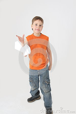 Boy starts paper plane