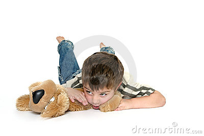 Boy on stomach isolated