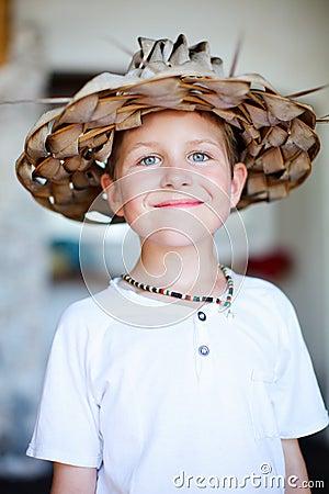 Boy in a straw hat
