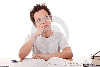 Boy studying boring