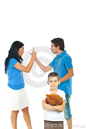 Boy suffering about parents conflict
