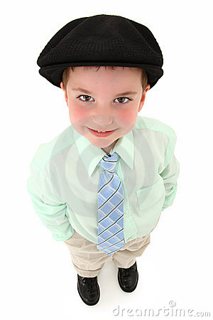 Boy in Suit and Kangol Looking Up