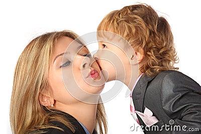 Boy in suit kisses mother