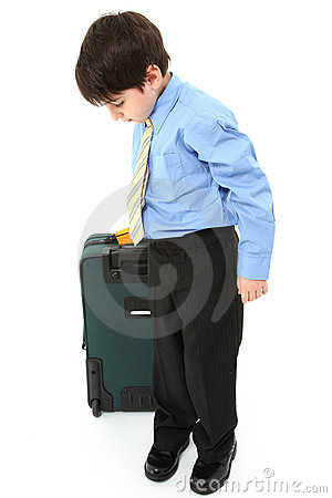 Boy with Suitcase over White
