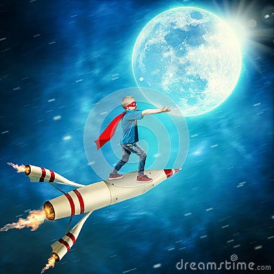 Boy in superhero costume guard the planet. Stock Photo