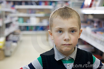 Boy in a supermarket