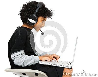 Boy Surfing The Net