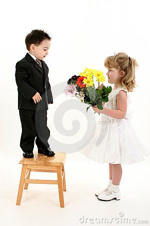 Free Boy Surprising Girl With Flowers Stock Photography - 233792