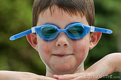 Boy in Swim Goggles