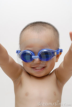 Boy with swimming goggles