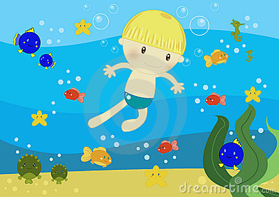 Boy swimming in the ocean