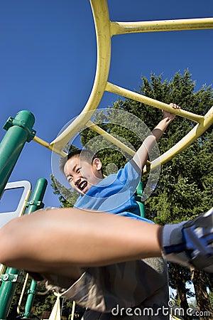 Boy Swinging on Jungle gym - Vertical