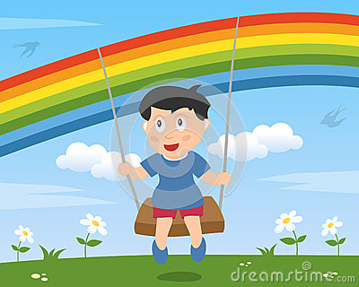 Boy Swinging under the Rainbow